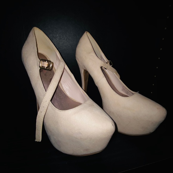 JustFab Shoes - Mary Jane Platform Nude Heels